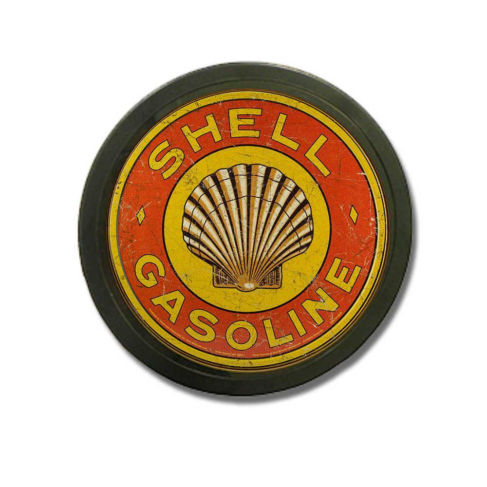 Luminoso Shell Gasoline Vermelho Redondo - Bivolt - em Alumínio com LED - 30x4 cm
