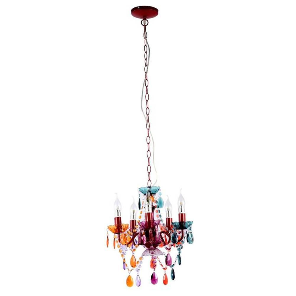 Lustre Ancona Colorido - Bivolt - em Metal e Cristais - 48x38 cm