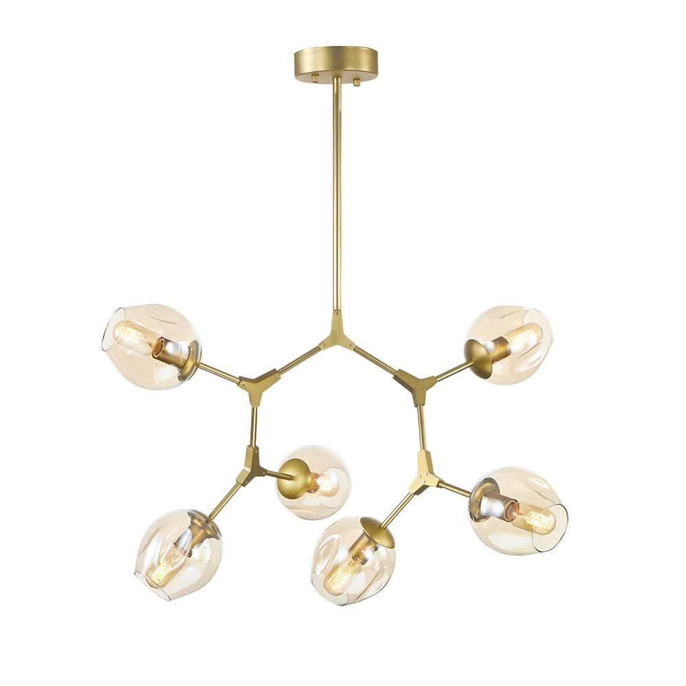 Lustre Átomos Dourado em Metal e Vidro - 6 braços - 97x90 cm