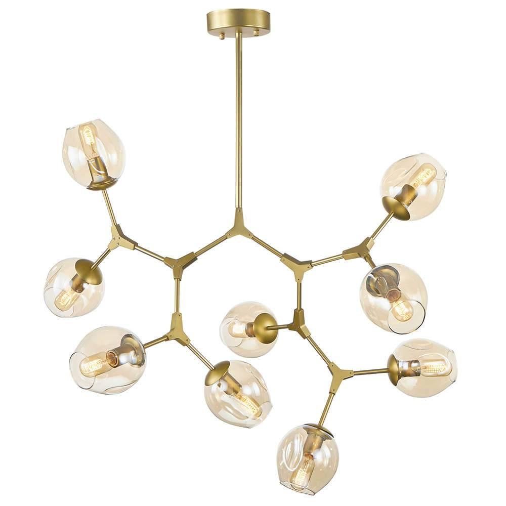 Lustre Átomos Dourado em Vidro e Metal - 8 Braços - 121x114 cm