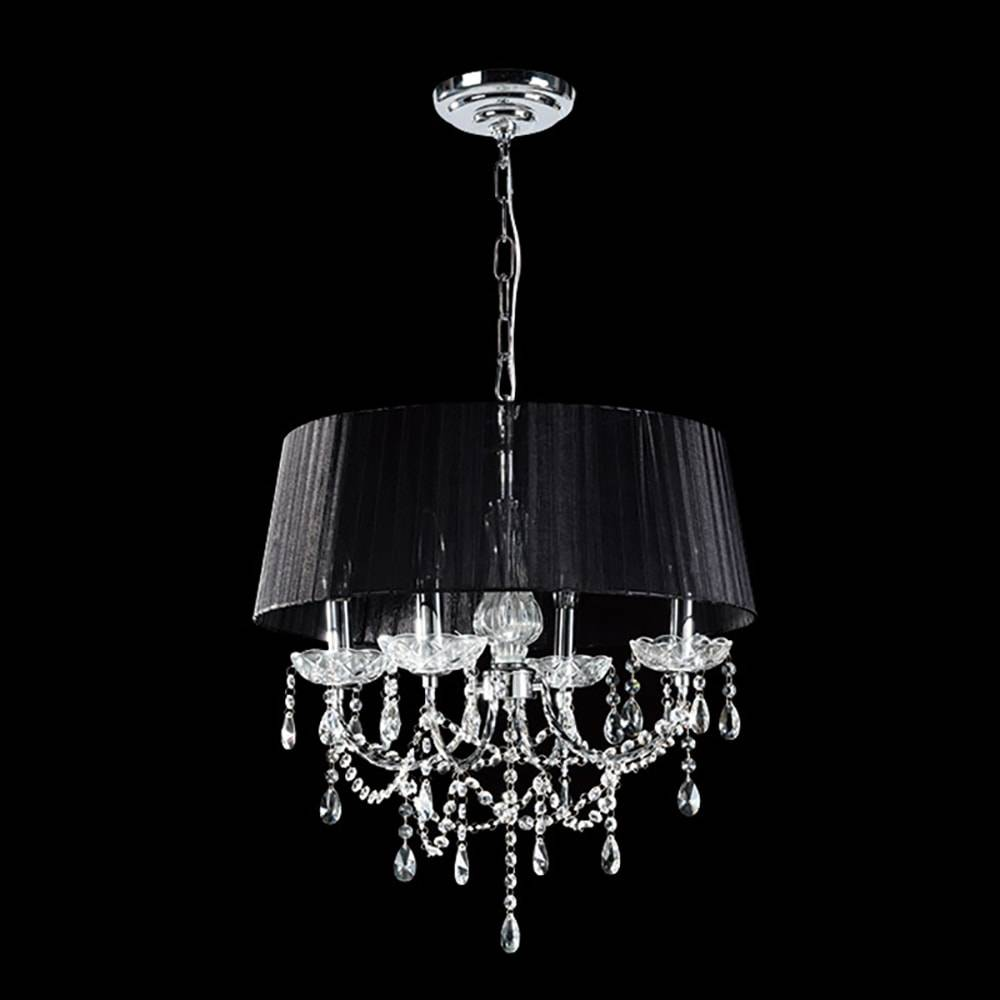 Lustre Chandelier Preto em Alumínio Escovado e Acrílico - 65x45 cm