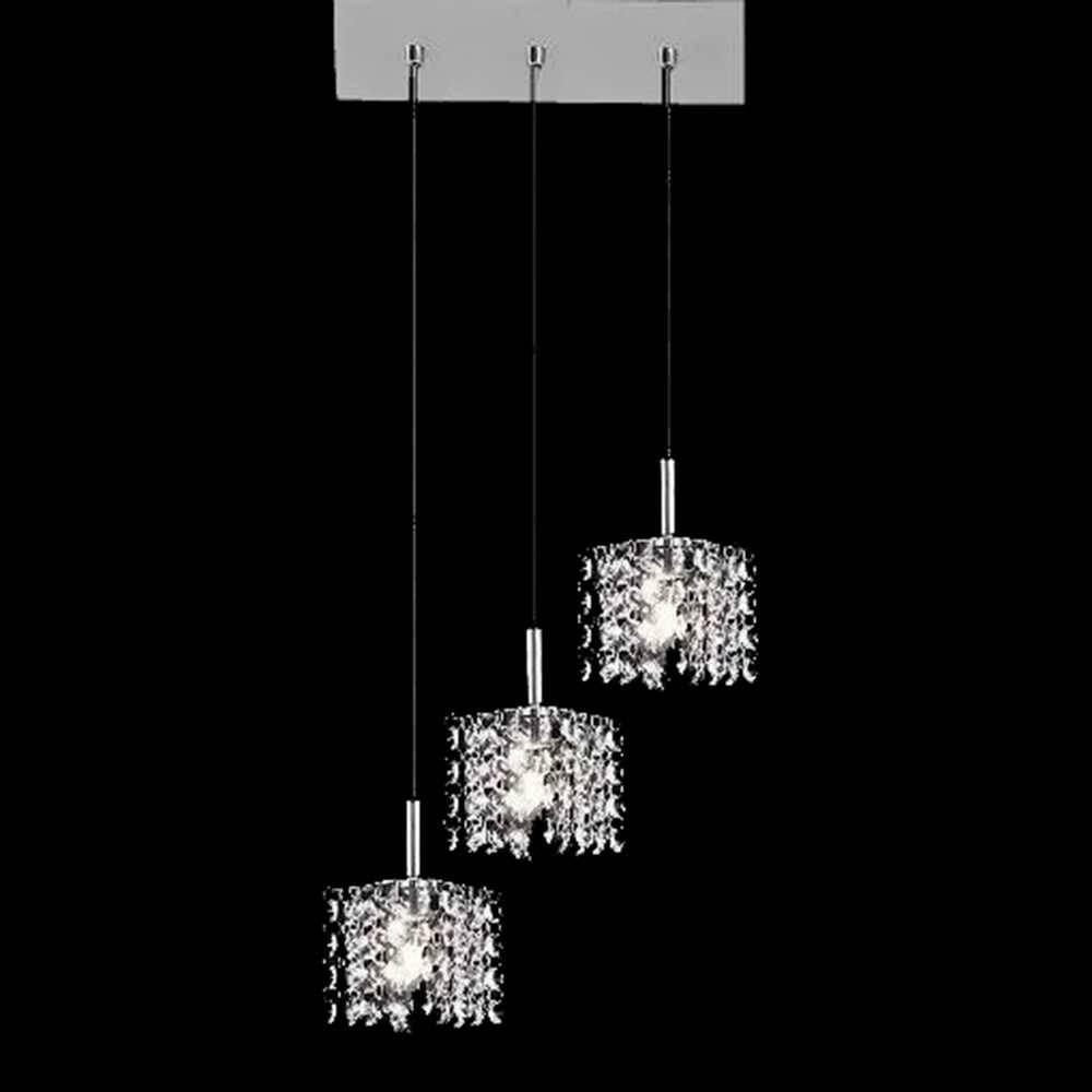 Lustre Crystal Transparente em Alumínio e Acrílico - 85x18 cm