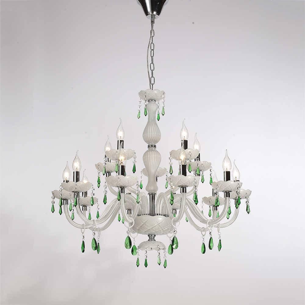 Lustre Degre para 15 Lâmpadas em Cristais Verdes e Estrutura de Metal - 82x82 cm