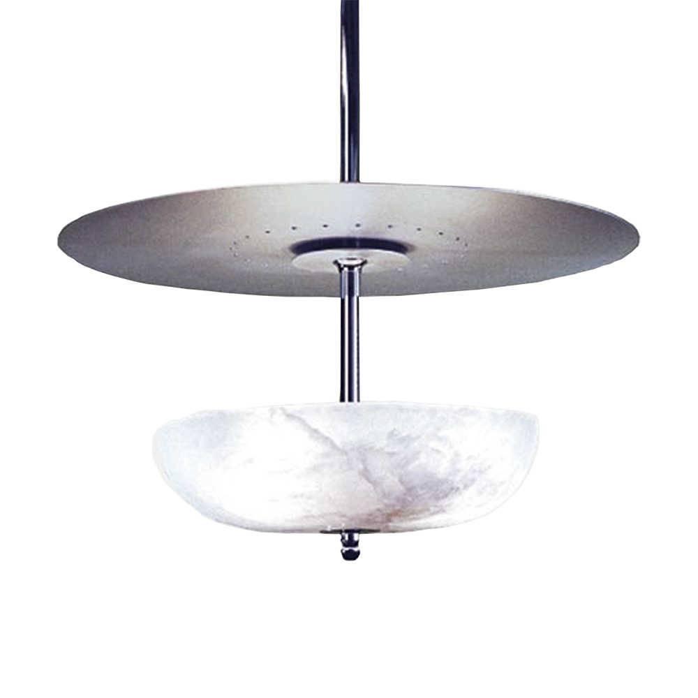 Lustre Disco Rústico Branco/Cromado - Bivolt - em Metal/Pedra - 80x60 cm