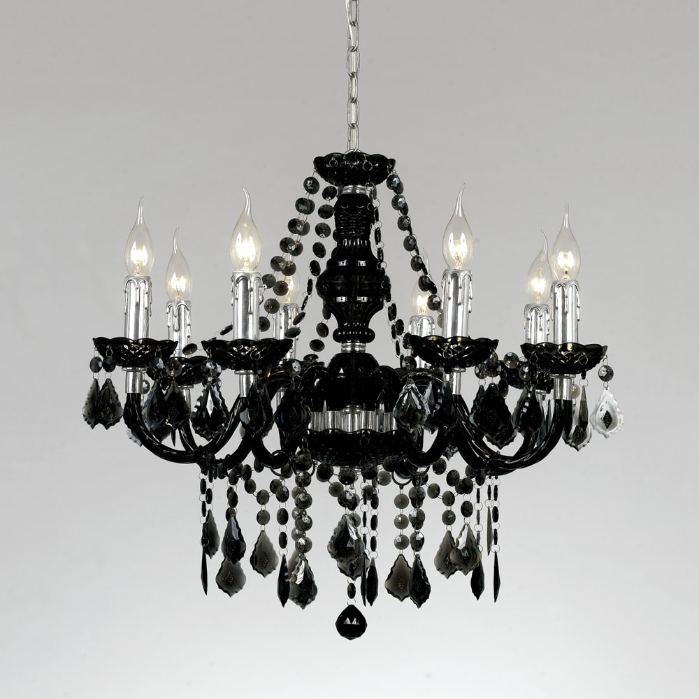 Lustre Eight Sides Preto - Bivolt - em Metal e Cristais - 65x60 cm