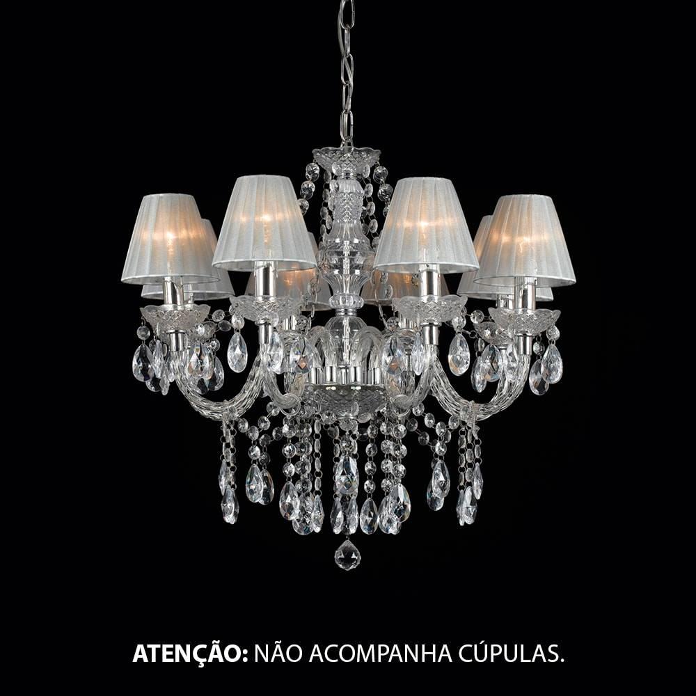 Lustre Eight Sides Transparente - Bivolt - em Metal e Cristais - 65x60 cm