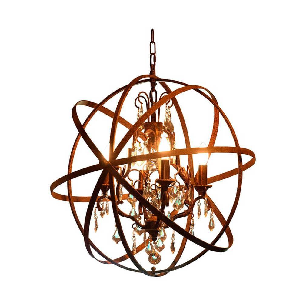 Lustre Esfera Bruta em Metal com Pintura Envelhecida - 65x60 cm
