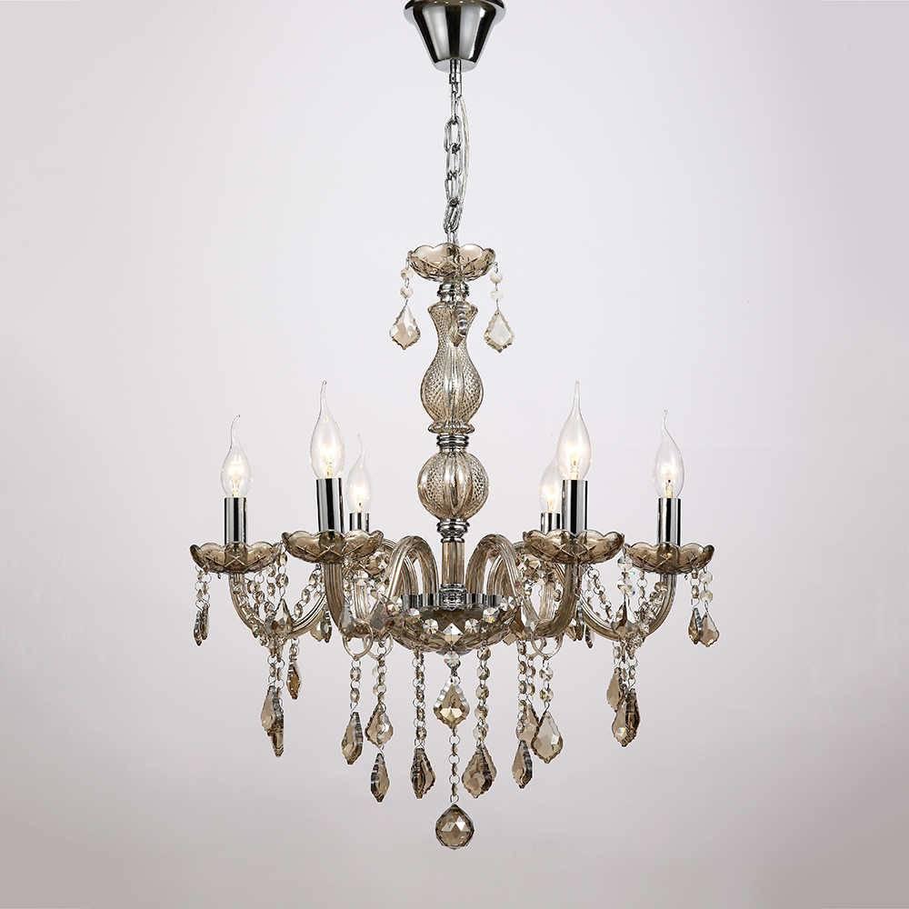 Lustre Fiore Preto para 6 Lâmpadas em Cristal com Estrutura de Metal - 77x68
