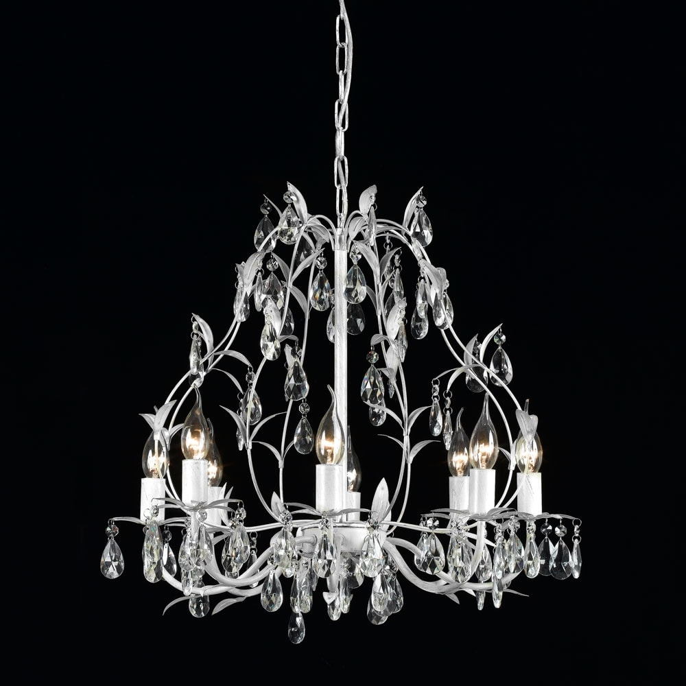 Lustre Fronds Branco - Bivolt - em Metal e Cristal - 60x58 cm