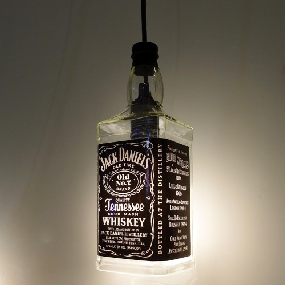 Lustre Garrafa Jack Daniel's Preto - 90x30 cm