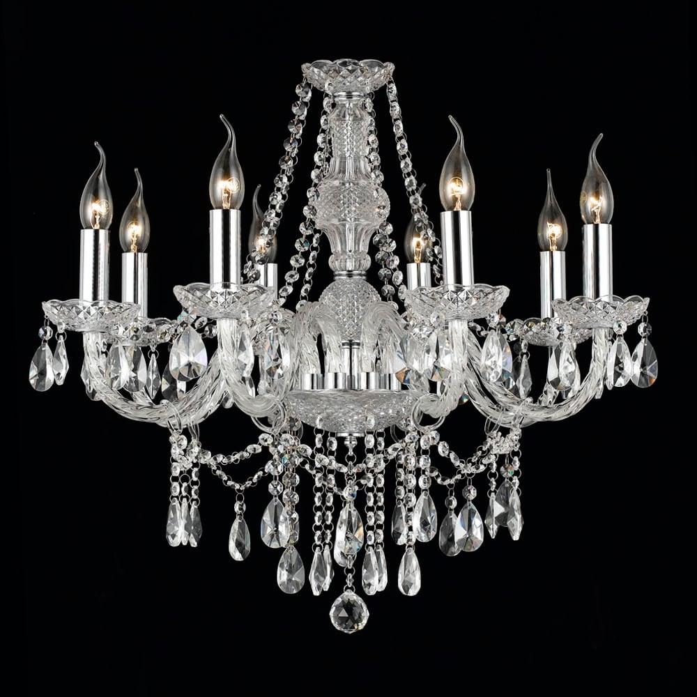 Lustre Glam Translúcido - Bivolt - em Metal e Cristais - 65x65 cm
