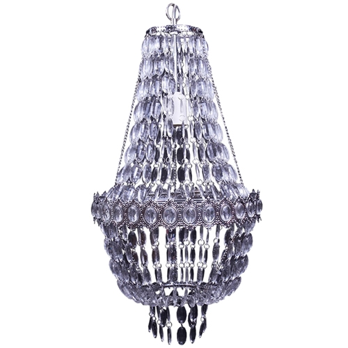 Lustre Gota de Cristal com Pedrarias em Metal - 61x30 cm