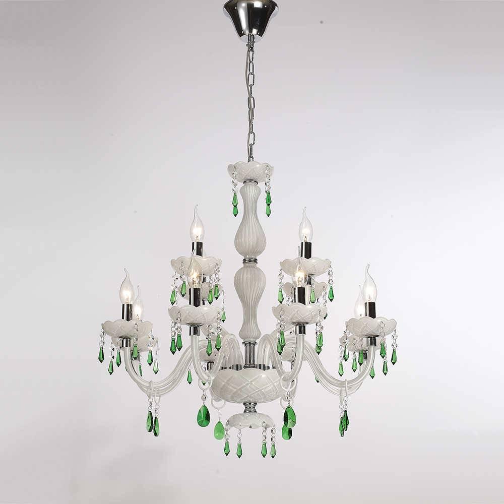 Lustre Ilusionise para 12 Lâmpadas em Cristais Verdes com Estrutura em Metal - 76x70 cm