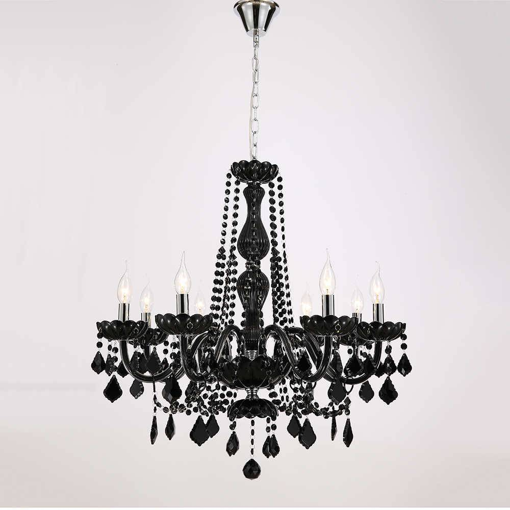 Lustre Lasse Preto para 8 Lâmpadas em Cristal com Estrutura de Metal - 77x68 cm