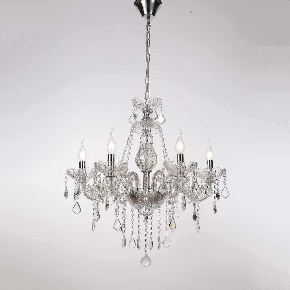 Lustre Lorrelio para 6 Lâmpadas em Cristal com Estrutura em Metal - 70x59 cm