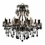 Lustre Maestre Preto para 10 lâmpadas em Metal e Cristais