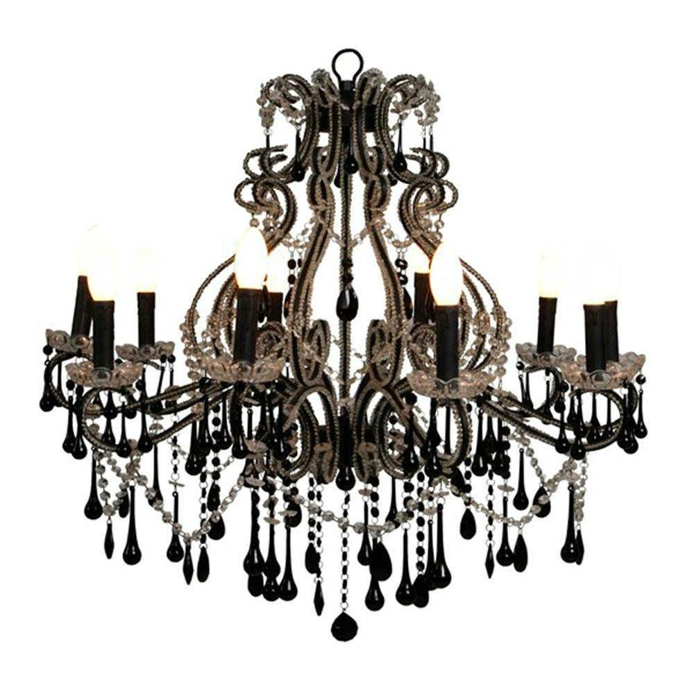 Lustre Maestre Preto para 10 lâmpadas em Metal e Cristais - 85x84 cm