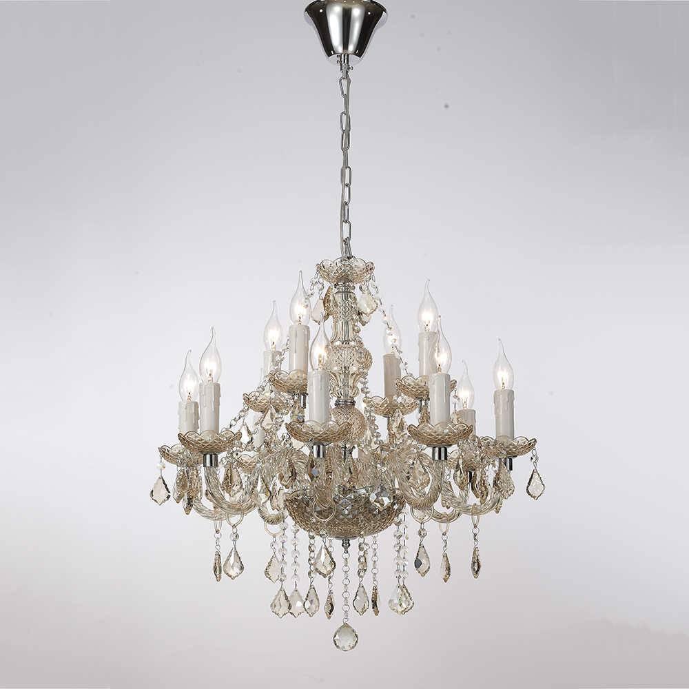 Lustre Micon para 12 Lâmpadas em Cristal com Estrutura em Metal - 65x60 cm