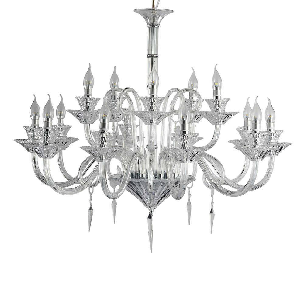 Lustre Modena com 15 Lâmpadas - Bivolt - em Metal e Cristais - 95x80 cm