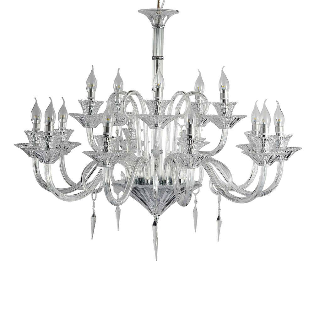 Lustre Modena com 15 Lâmpadas - Bivolt - em Metal e Cristais - 95x95 cm