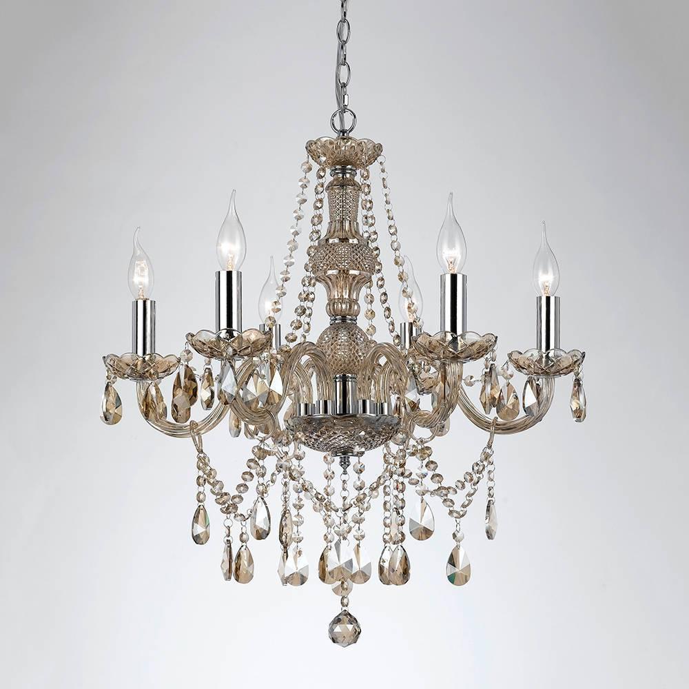 Lustre Orient Conhaque - Bivolt - em Metal e Cristais - 64x62 cm