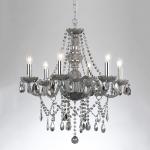 Lustre Orient Fumê - Bivolt - em Metal e Cristais - 64x62 cm