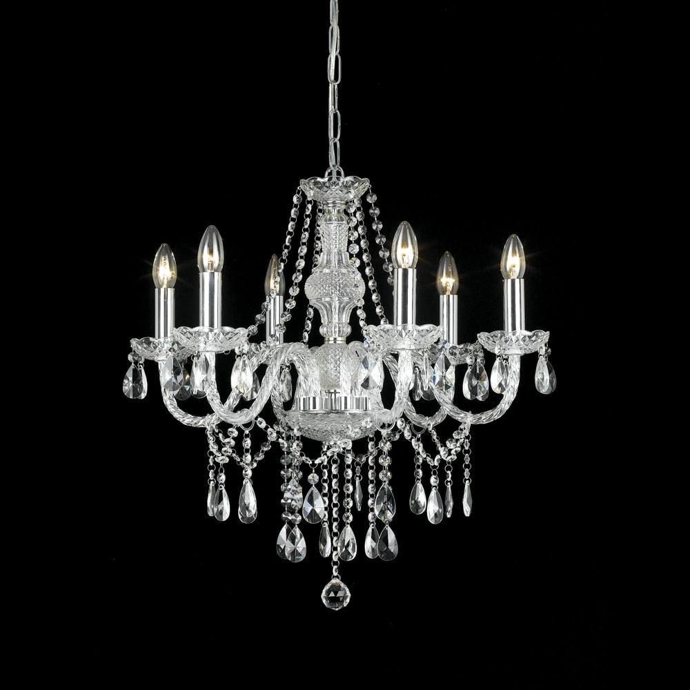 Lustre Orient Translúcido - Bivolt - em Metal e Cristais - 64x62 cm