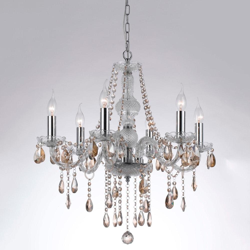 Lustre Orient Translúcido/Conhaque - Bivolt - em Metal e Cristais - 64x62 cm