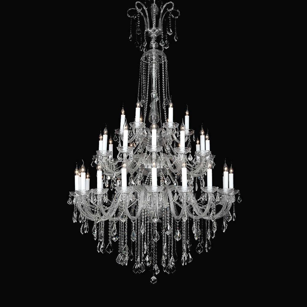 Lustre Pavine para 36 Lâmpadas em Cristal com Estrutura em Metal - 225x120 cm