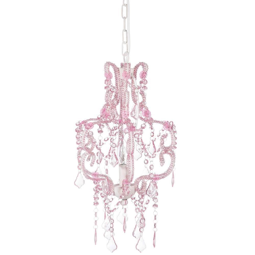 Lustre Penélope Rosa em Metal e Acrílico - 105x32 cm