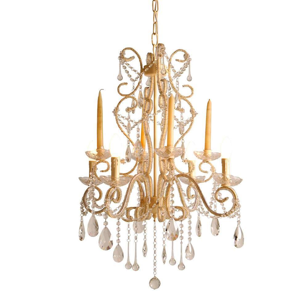 Lustre Shold Dourado para Velas e Lâmpadas em Vidro Lapidado - 115x60 cm