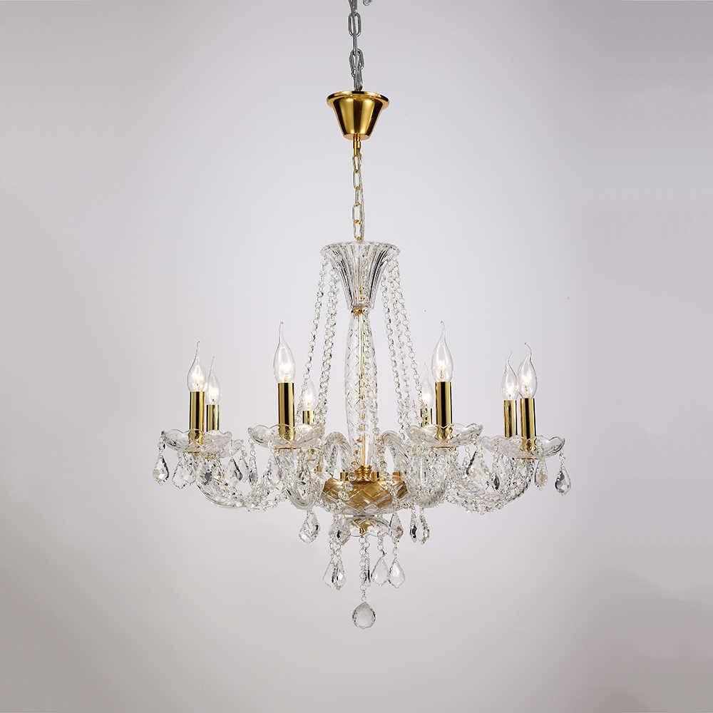 Lustre Tyler Dourado para 8 Lâmpadas em Cristal com Estrutura em Metal - 75x64 cm