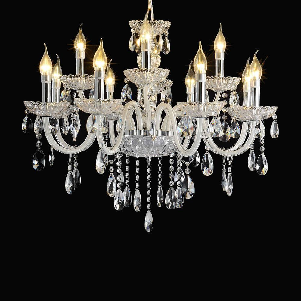 Lustre Veneza com 12 Lâmpadas - Bivolt - em Metal com Cristais - 76x58 cm