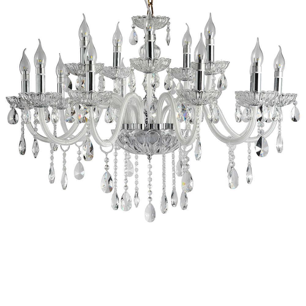 Lustre Veneza com 15 Lâmpadas - Bivolt - em Metal e Cristais - 95x68 cm
