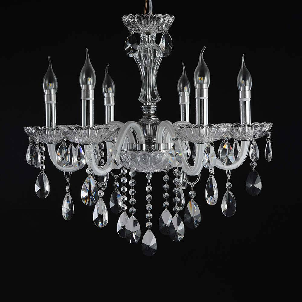 Lustre Veneza com 6 Lâmpadas - Bivolt - em Metal e Cristais - 65x55 cm
