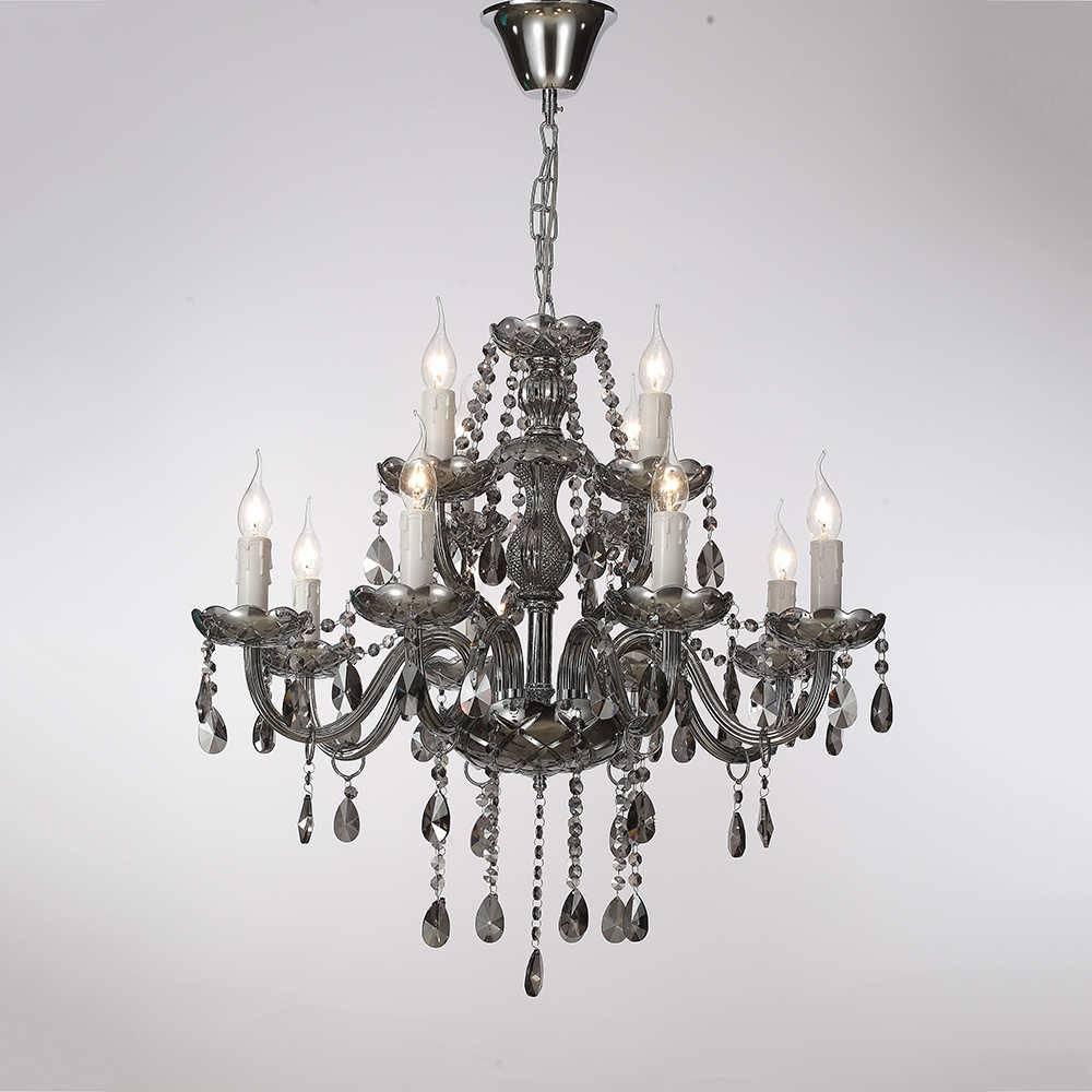 Lustre Vilene para 12 Lâmpadas em Cristal com Estrutura em Metal - 70x55 cm