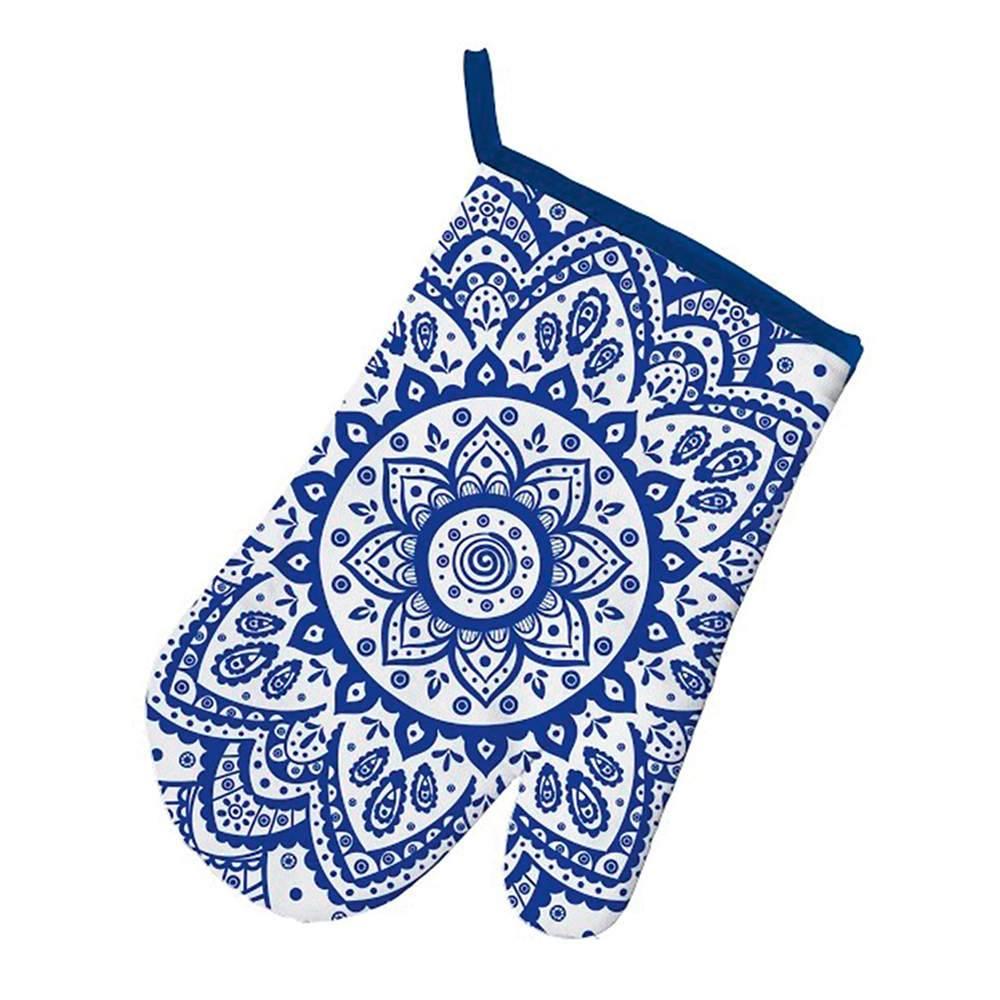 Luva de Cozinha Indigo Hanna Flower Azul em Algodão - Urban - 29x18 cm