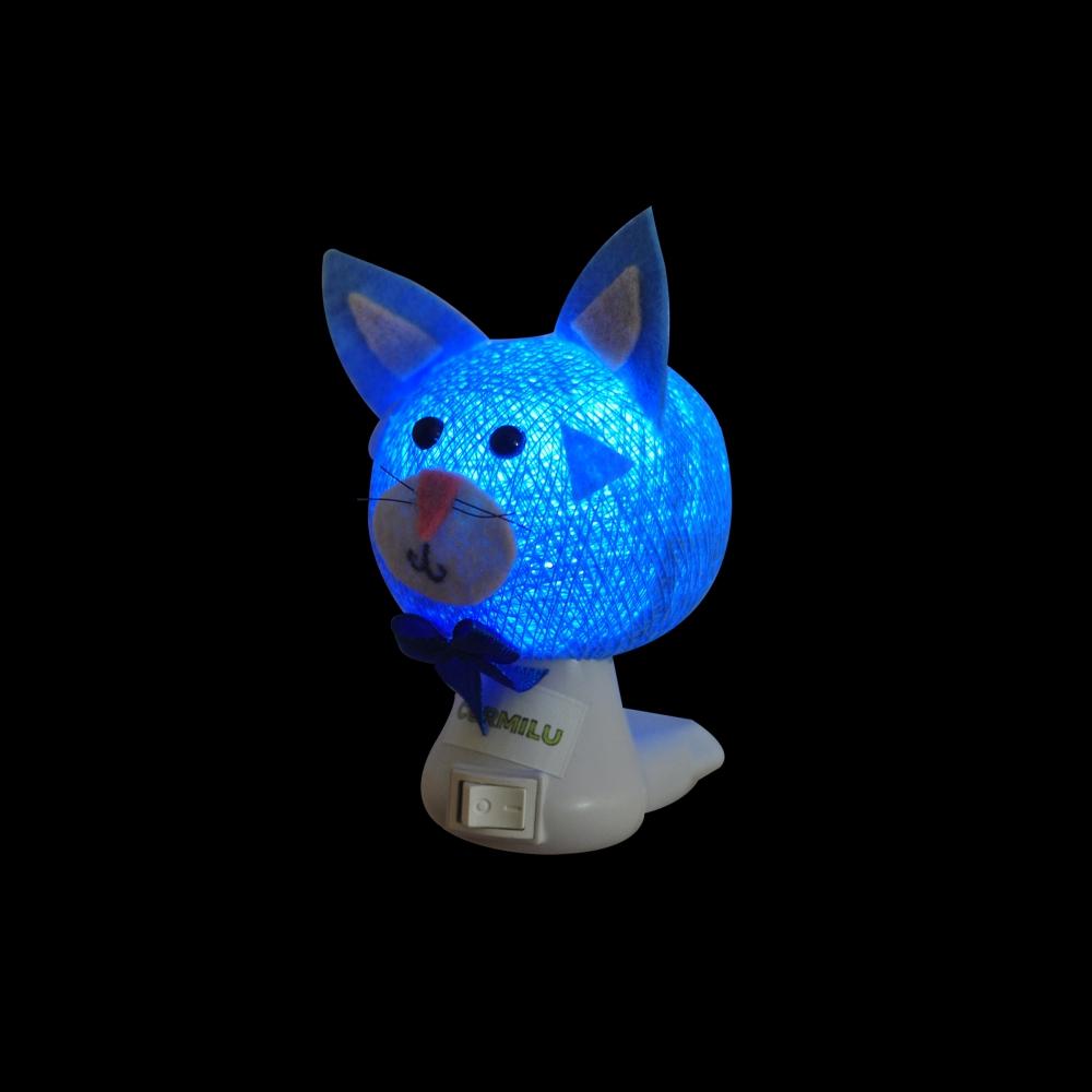 Luz noturna gato azul claro