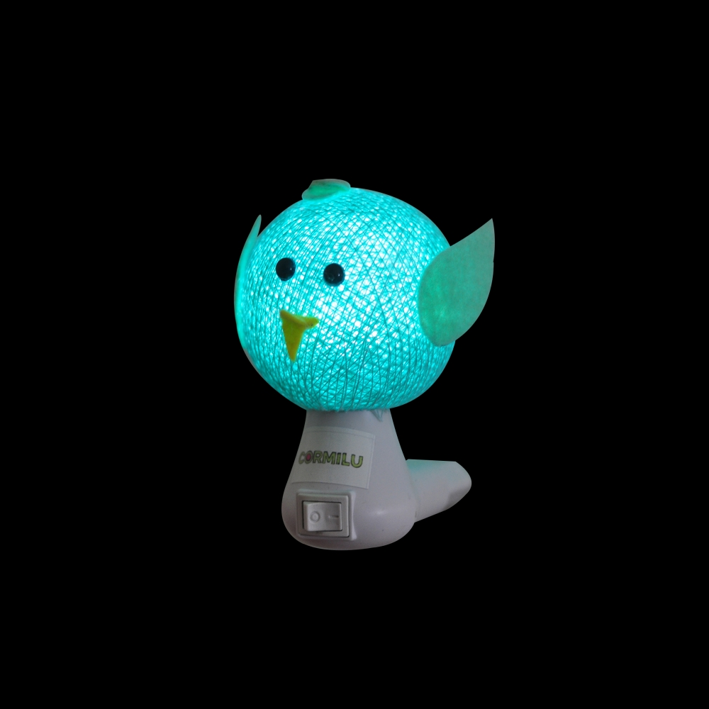 Luz noturna passarinho turquesa