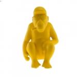 Macaco Sentado Amarelo em Cerâmica - 22x14 cm