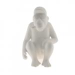 Macaco Sentado Branco em Cerâmica - 22x14 cm