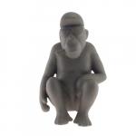 Macaco Sentado Cinza em Cerâmica - 22x14 cm