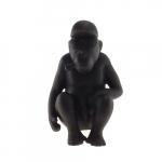 Macaco Sentado Preto em Cerâmica - 22x14 cm