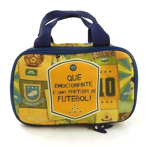 Maletinha Estampada Brasil do Futebol - Carpe Diem - Amarelo em Couro - 30x20 cm