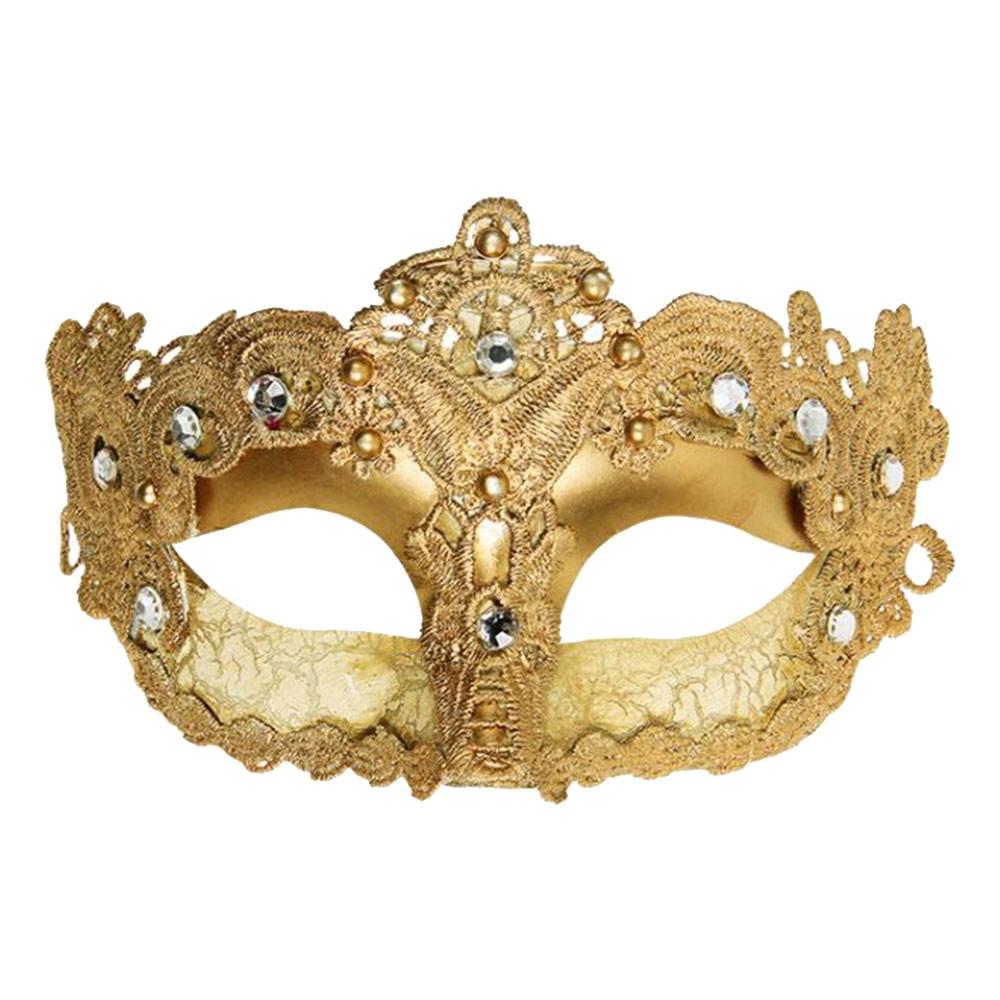 Máscara Cênica Cannaregio Dourada c/ Pedrarias de Parede em Papel Machê - 18x11 cm