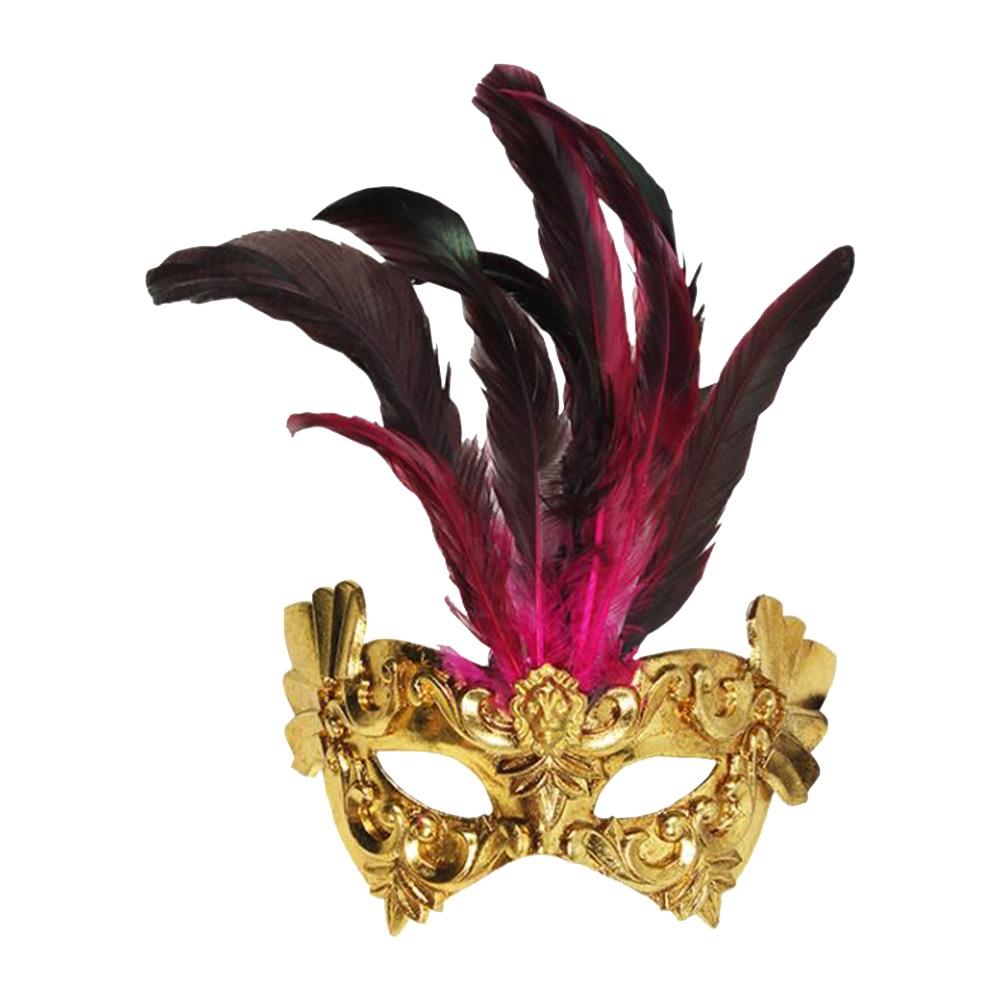 Máscara Cênica Castello Dourada c/ Penas de Parede em Papel Machê - 28x20 cm