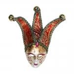 Máscara Cênica San Giorgio Vermelha/Dourada de Parede em Papel Machê - 24x13 cm