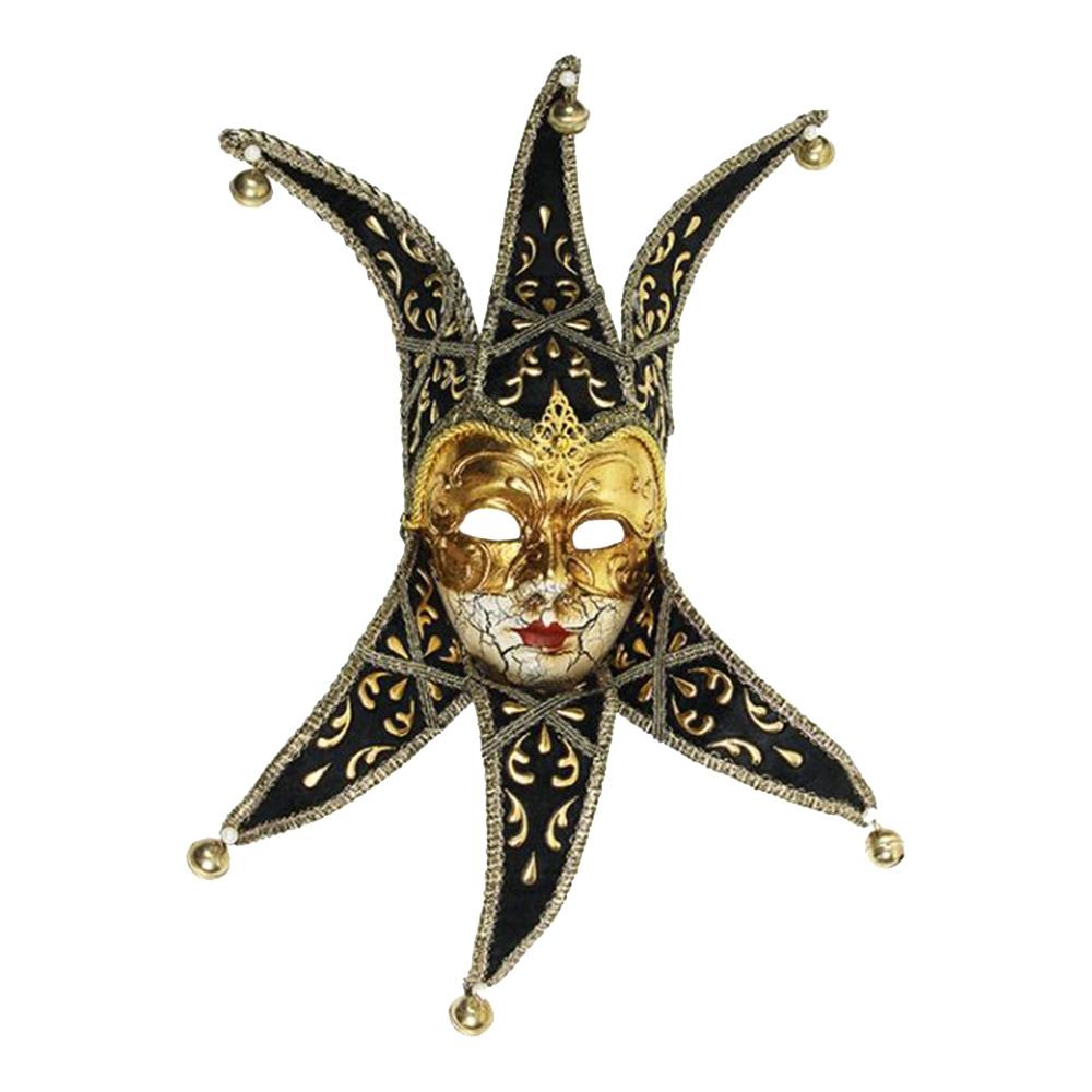 Máscara Cênica San Marco II Preto/Dourado de Parede em Papel Machê - 40x19 cm
