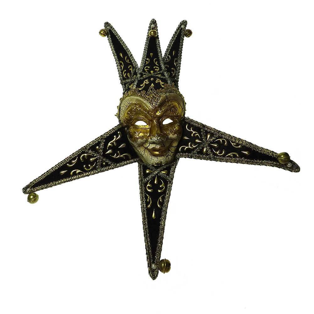 Máscara Cênica San Marco Preto/Dourado de Parede em Papel Machê - 40x20 cm