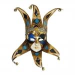 Máscara Cênica San Polo Dourado/Azul de Parede em Papel Machê - 42x20 cm